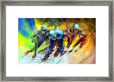Ice Speed Skating 01 Framed Print by Miki De Goodaboom