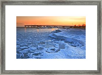 Ice Volcanic Crater On Beach Framed Print by Charline Xia