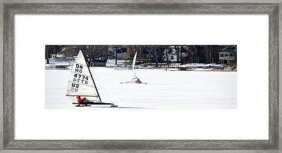 Ice Yacht Race Framed Print by Michelle Calkins