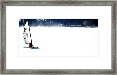 Ice Yachting Framed Print by Michelle Calkins