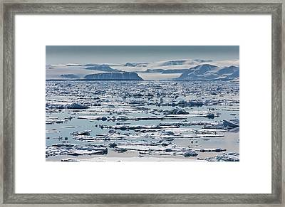 Icebergs, Hinlopen Strait, Spitsbergen Framed Print by Panoramic Images