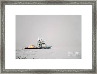 Icebreaker Ship In The Arctict  Framed Print by Lilach Weiss