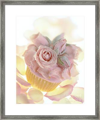 Iced Cup Cake With Sugared Pink Roses Framed Print by Iris Richardson