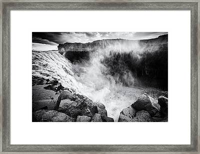Iceland Dettifoss Waterfall Black And White Framed Print by Matthias Hauser