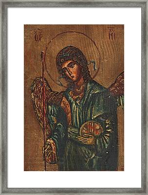 Icon Of Archangel Michael - Painting On The Wood Framed Print by Nenad Cerovic