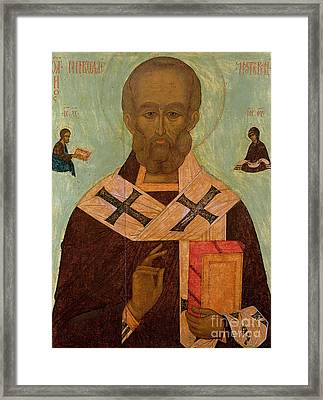 Icon Of St. Nicholas Framed Print by Russian School