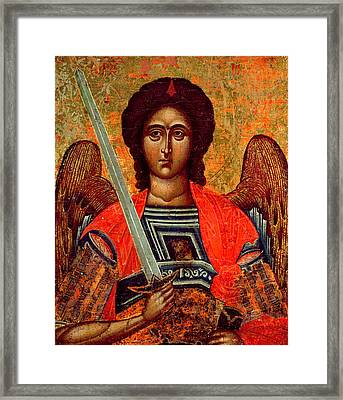 Icon Of The Angel Michael Framed Print by Greek School
