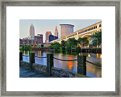 Iconic Cleveland View Framed Print by Frozen in Time Fine Art Photography