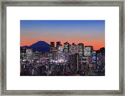 Iconic Mt Fuji With Shinjuku Skyscrapers Framed Print by Duane Walker