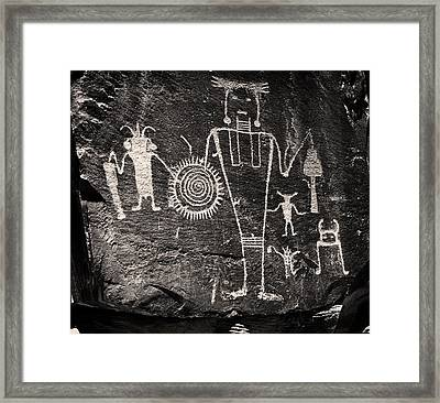 Iconic Petroglyphs From The Freemont Culture Framed Print by Melany Sarafis