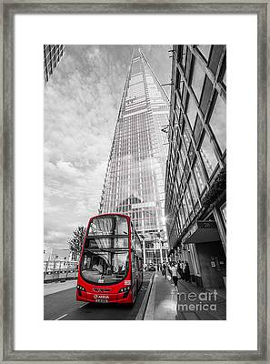 Iconic Red London Bus With The Shard - London - Selective Colour Framed Print by Ian Monk