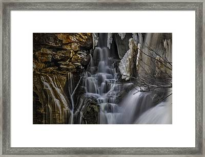 Icy Cascade Framed Print by Ken Czworka