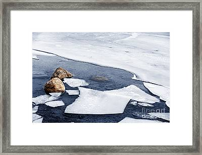 Icy Shore In Winter Framed Print by Elena Elisseeva