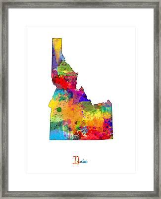 Idaho Map Framed Print by Michael Tompsett