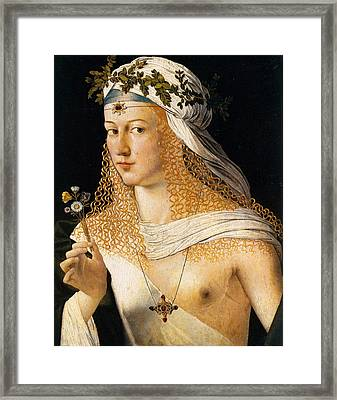 Idealized Portrait Of A Courtesan As Flora Framed Print by Bartolomeo Veneto