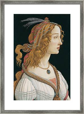 Idealized Portrait Of A Lady. Portrait Of Simonetta Vespucci As Nymph Framed Print by Sandro Botticelli