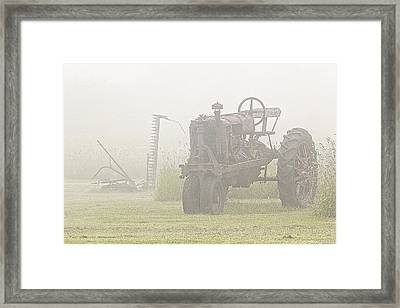 Idle Tractor In Fog Framed Print by Marty Saccone