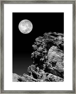 Idyllwild Full Moon And A Rock Night Scene Framed Print by Ben and Raisa Gertsberg