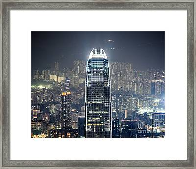 Ifc Tower And Skyline Of Hong Kong At Night Framed Print by Matteo Colombo