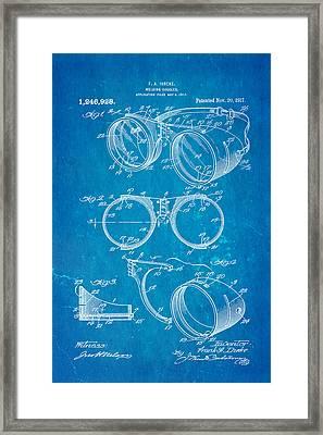 Ihrcke Welding Goggles Patent Art 1917 Blueprint Framed Print by Ian Monk
