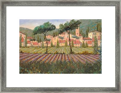 Il Villaggio Tra I Campi Di Lavanda Framed Print by Guido Borelli