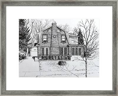 Illinois Home Portrait Drawing Framed Print by Hanne Lore Koehler