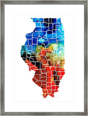 Illinois - Map Counties By Sharon Cummings Framed Print by Sharon Cummings