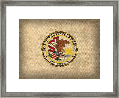 Illinois State Flag Art On Worn Canvas Framed Print by Design Turnpike