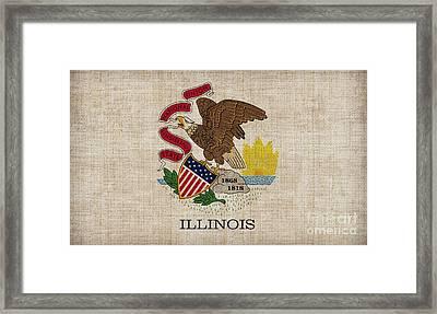 Illinois State Flag Framed Print by Pixel Chimp