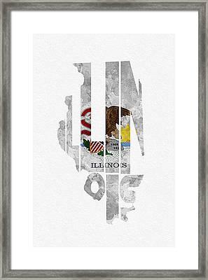 Illinois Typographic Map Flag Framed Print by Ayse Deniz