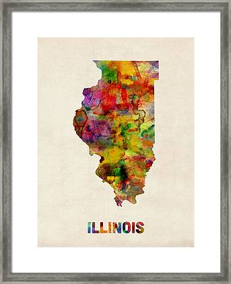 Illinois Watercolor Map Framed Print by Michael Tompsett