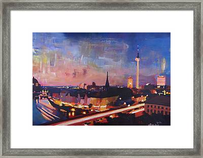 Illuminated Berlin Skyline At Dusk  Framed Print by M Bleichner