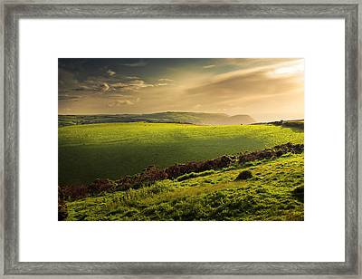 Illuminated Evening Landscape North Devon Framed Print by Dorit Fuhg