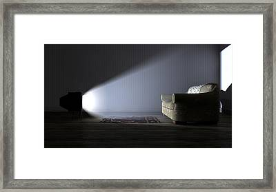 Illuminated Television And Lonely Old Couch Framed Print by Allan Swart