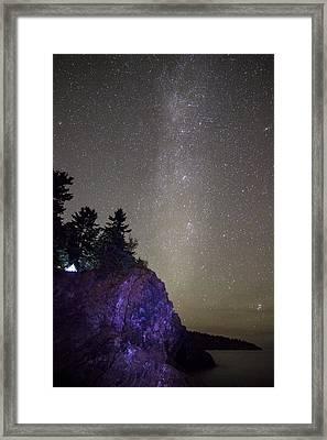 Illuminated Tent // North Shore, Lake Superior Framed Print by Nicholas Parker