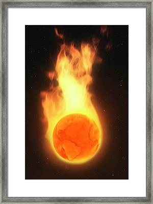 Illustration Depicting Global Warming Framed Print by Mark Garlick