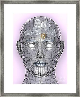 Illustration Of Cogs Or Gears In Human Head Framed Print by Christos Georghiou