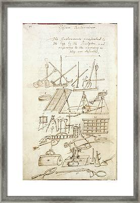Illustration Of Garden Tools Framed Print by British Library