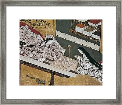 Illustration Of The Genji Monogatari Framed Print by Everett