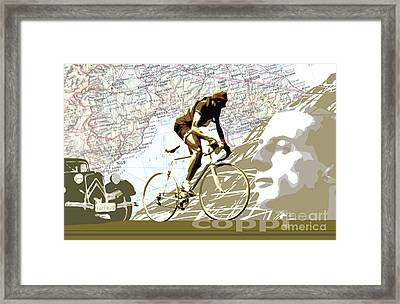 Illustration Print Giro De Italia Coppi Vintage Map Cycling Framed Print by Sassan Filsoof