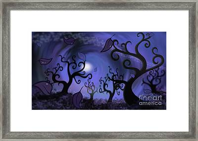 Illustration Print Of Spooky Forest Of Curly Trees Framed Print by Sassan Filsoof