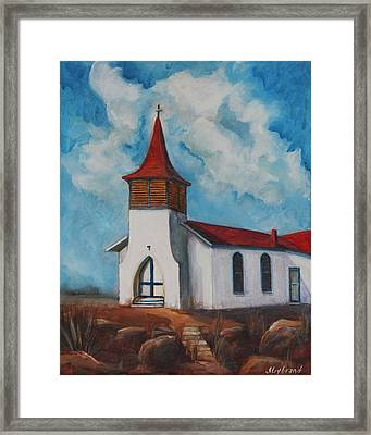 Immaculate Conception Catholic Church Of Cimarron New Mexico Framed Print by Judy Lybrand