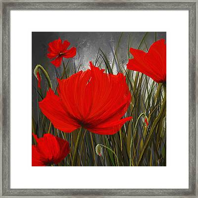 Immortal Blooms - Red And Gray Art Framed Print by Lourry Legarde