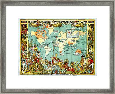 Imperial Federation Map Of The World Showing The Extent Of The British Empire In 1886 Framed Print by Celestial Images
