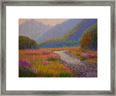 Impression Lupins Cascade Creek Framed Print by Terry Perham