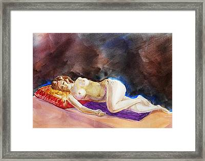Impressionism Of Reclining Nude Framed Print by Irina Sztukowski