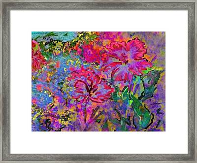 Impressionistic Magenta Hibiscus - Horizontal Framed Print by Lyn Voytershark