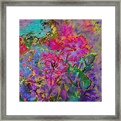 Impressionistic Magenta Hibiscus - Square Framed Print by Lyn Voytershark