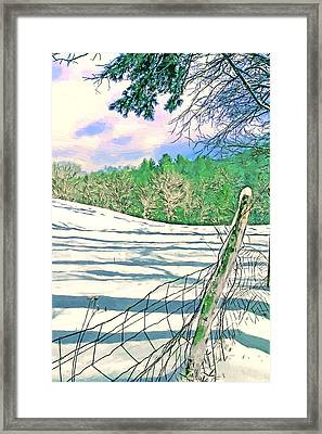 Impressions Of A Snow Covered Farm Framed Print by John Haldane