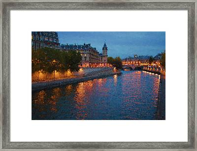 Impressions Of Paris - Shimmering Seine River At Night Framed Print by Georgia Mizuleva